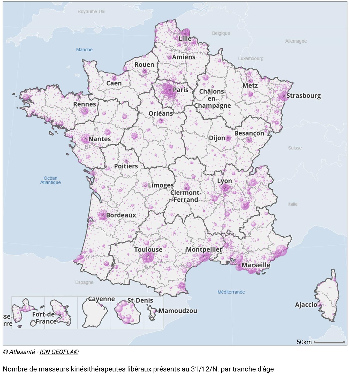 Carte des masseurs kinésithérapeutes en France