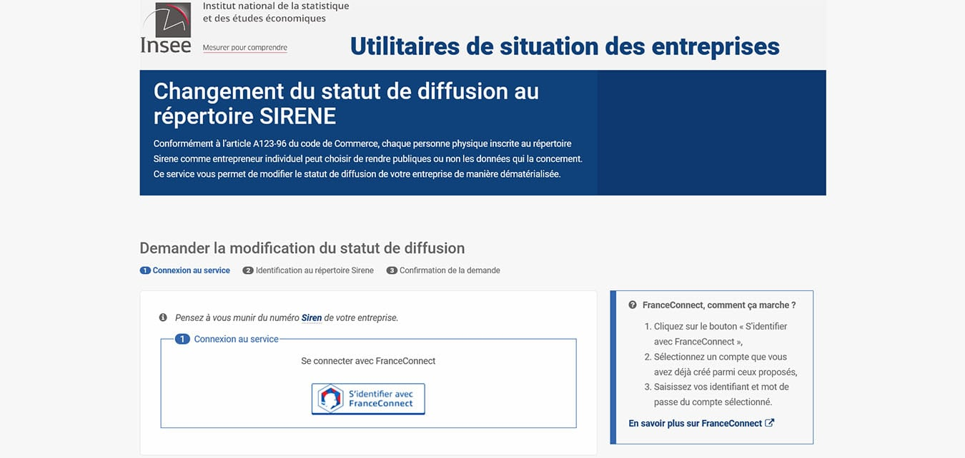 Rendre son entreprise visible : accueil site INSEE