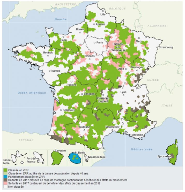 Carte des ZRR en 2020