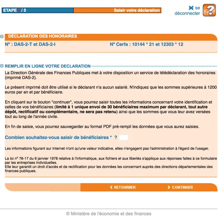 Declaration Das2 en ligne EFI - etape 2 du tutoriel