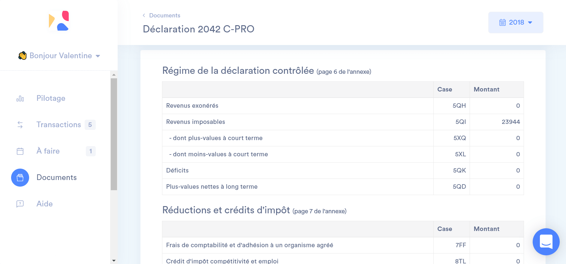 La 2042-C-PRO dans l'application Indy