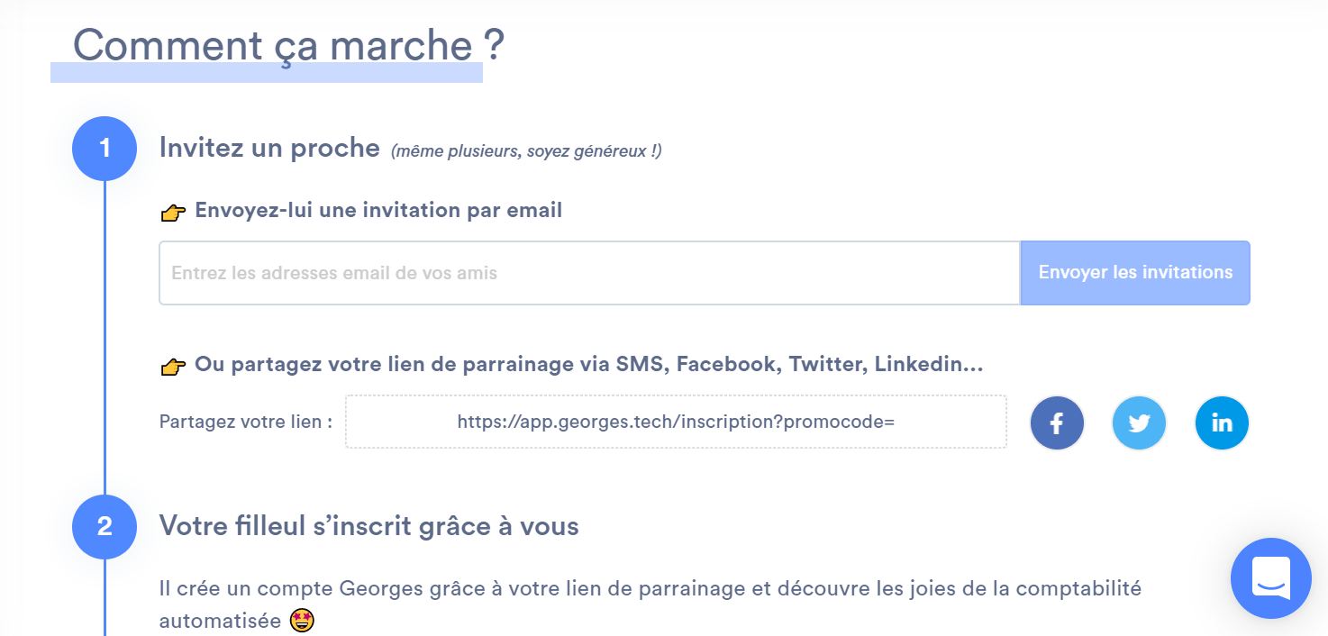 Page de parrainage sur l'application Georges