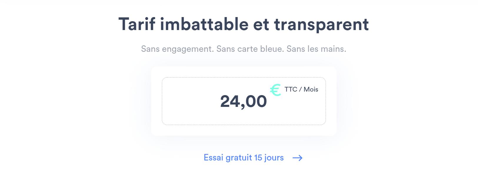 Tarif imbattable à 24€ TTC par mois
